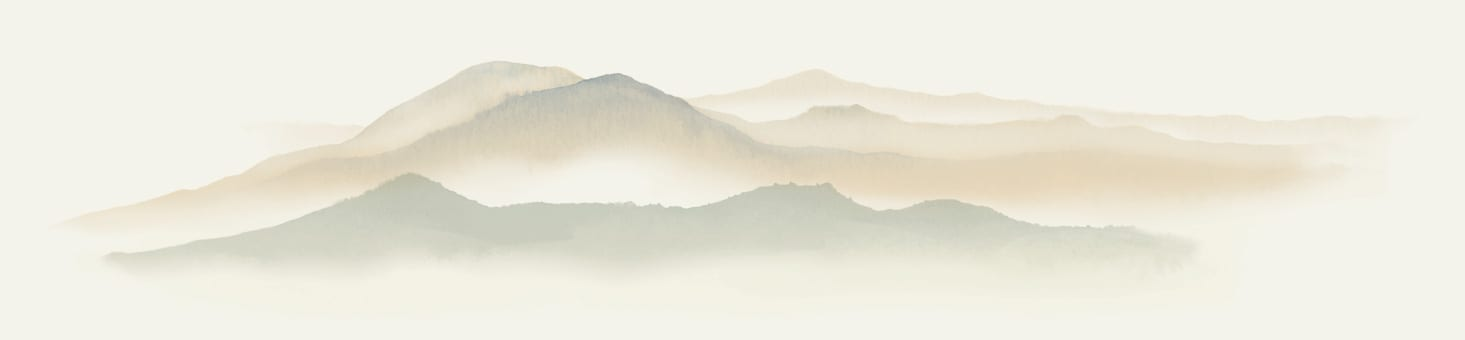 Watercolor illustration of mountains and mist